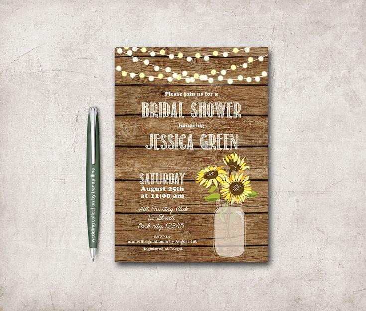 Rustic Bridal Shower Invitation Printable, Sunflower Bridal Shower, Country Bridal Shower, Mason Jar Bridal Shower Invitation - pinned by pin4etsy.com