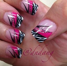 Pink Zebra Nails on Pinterest | Lemon Hair Highlights, Zebra Nails ...