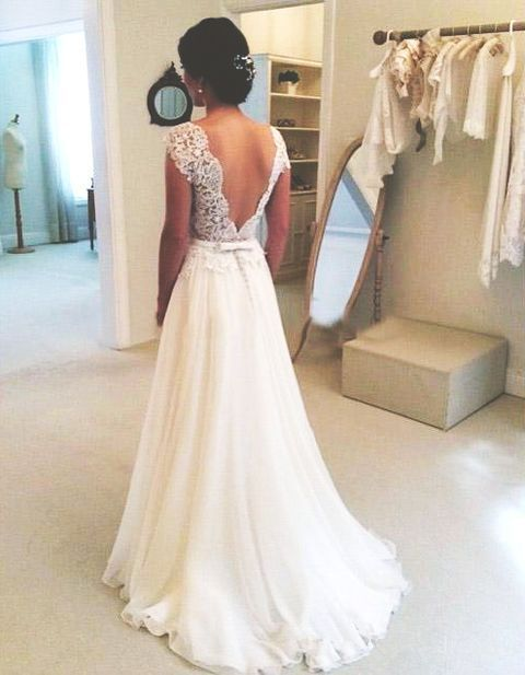A-line Round Neckline Chiffon Lace Long Wedding Dresses, Wedding Gown, Open Back Wedding Dress, Lace Sleeves Wedding Dress