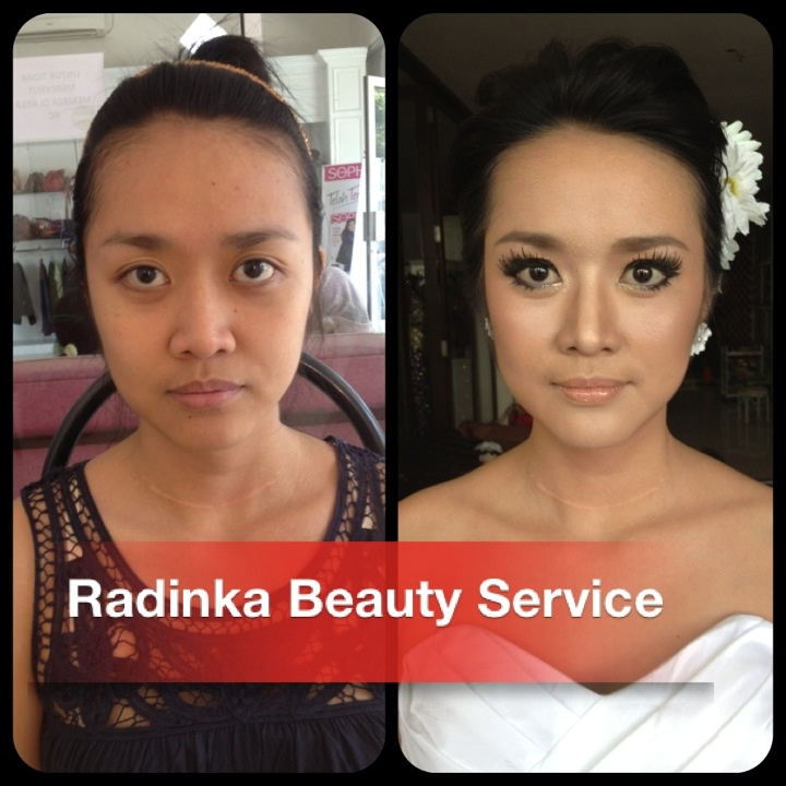 Before after on my nude makeup for casual bride