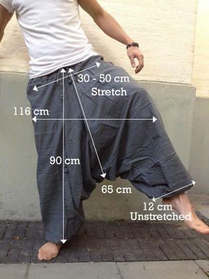 Gray Line Pattern Samurai Pants