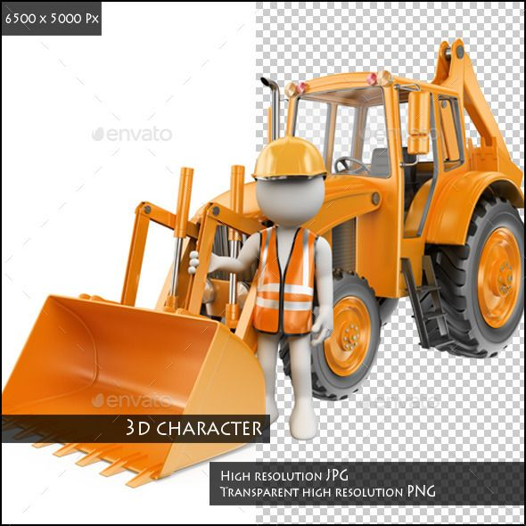 3D White People. Worker with a Backhoe Loader by real_texelart 3d white people. Worker with a backhoe loader. Digger. Rendered at high resolution on a white background with diffuse shadows. The