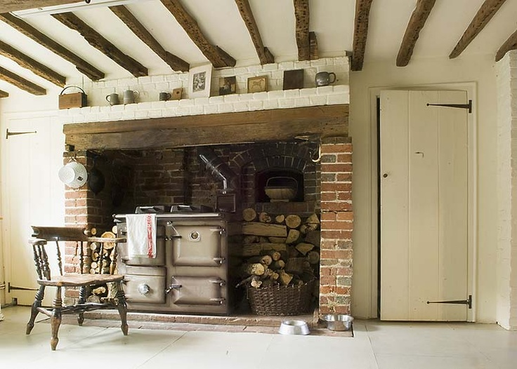Cottage Life; English cottage with inglenook and rayburn