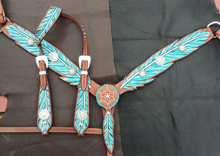 Native American Feather Breast collar and One Ear Headstall with Dreamcatcher center Feather and Rhinestone conchos $350.