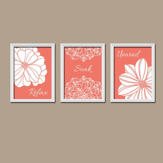 Coral Bathroom Wall Art Canvas Or Prints Bathroom Pictures Coral Bathroom Artwork Custom Colors Relax Soak Unwind Quote Set Of 3