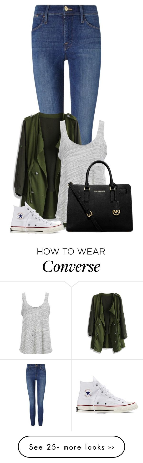 """""""Untitled #1258"""" by directioner-123-ii on Polyvore featuring Frame Denim, Chicwish, Project Social T, Converse, MICHAEL Michael Kors and FFfatifashion"""