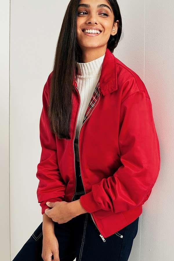 b0ec83d0e2d9b Urban Renewal Vintage Remnants Red Harrington Jacket | Urban Outfitters |  Women's | Coats & Jackets | Lightweight Jackets #UOEurope #UrbanOutfittersEU