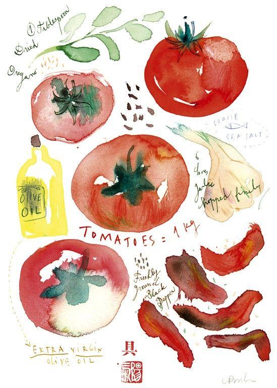 Tomato illustration, Recipe print, Watercolor, Food art, Kitchen decor