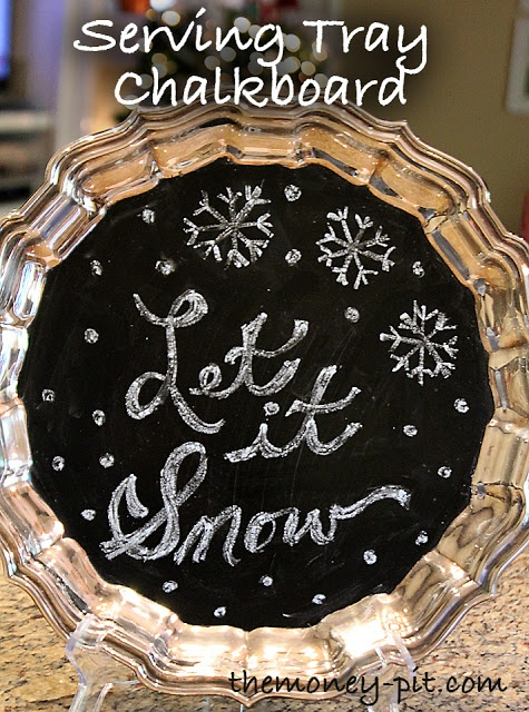 Make your own Serving Tray Chalkboard using an old silver tray!