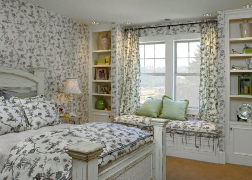 Blue And White Toile Bedroom: Toile...beautiful, With The Wallpaper, Bed Linens, And