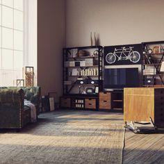 Рабочий кабинет, оформленный в стиле лофт. Все нюансы учтены! Джинсовый диван, большой рабочий стол, стеллажи из металла и дерева.