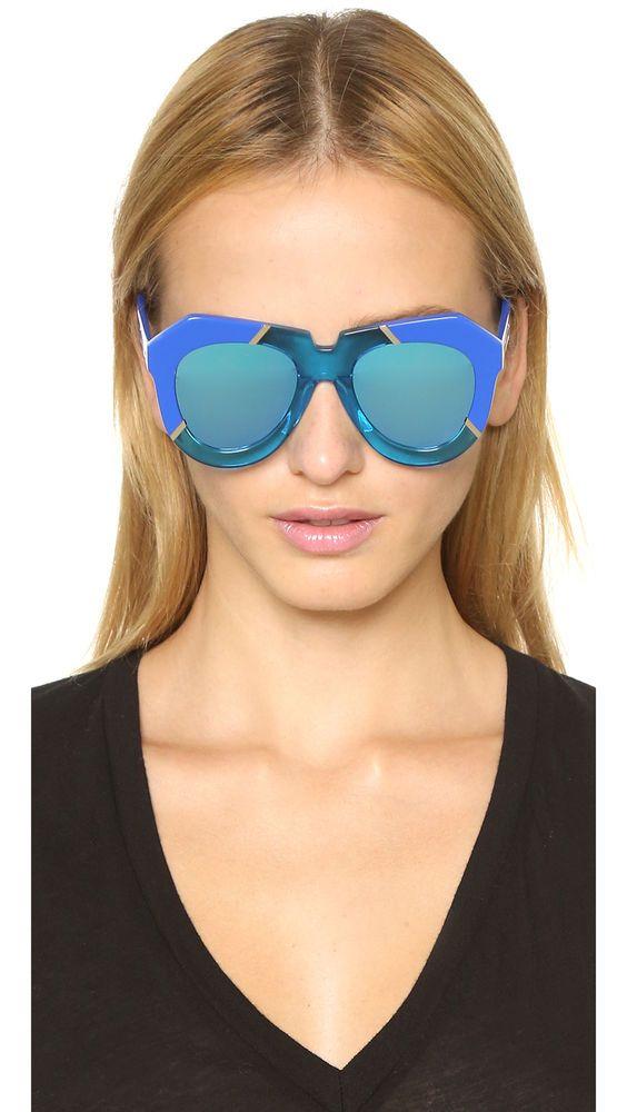 683d12cafdf Karen Walker NWT One Splash Handmade Large Blue Sunglasses Retail  296.