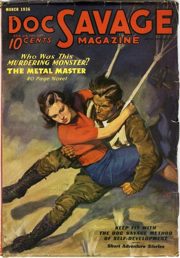 Doc Savage magazine pulp cover art woman dame girl parachute paratrooper airborne danger rescue