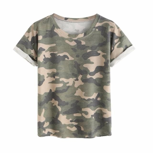 Women Ladies Summer Short Sleeve Tops Round Neck Rolled Casual Camouflage Printed T-Shirt H7 Picture Show