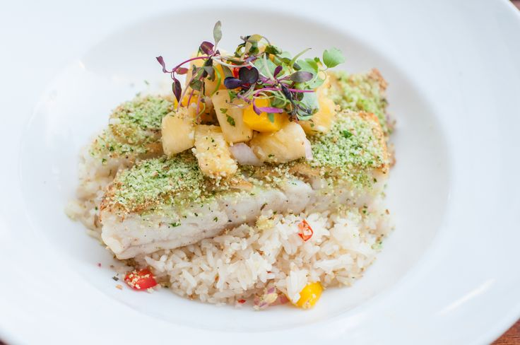 HERB-CRUSTED COD with, coconut rice, mango  pineapple salsa  #DelrayBeach #Florida #LoveFL  www.TheAtlanticGrille.com