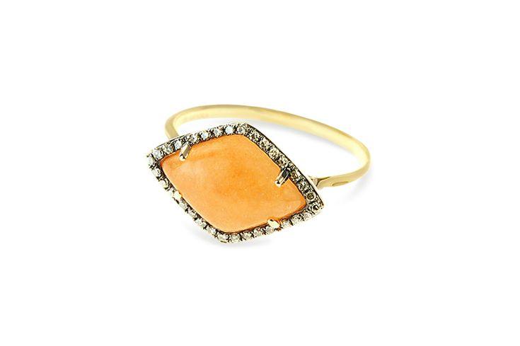 18 ct rose gold marquise cut peach aventurine & champagne diamond ring