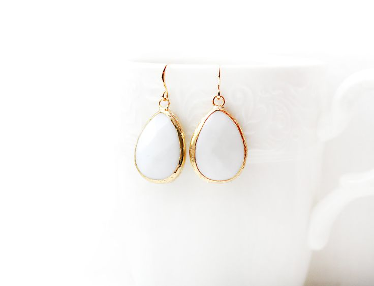 Gold Plated Framed Drop White Jade Earrings
