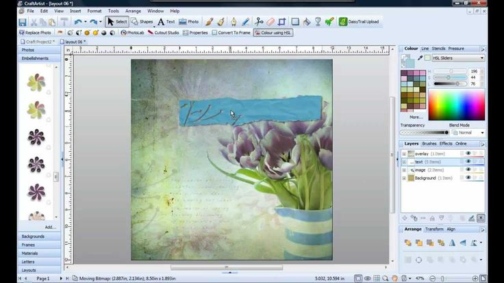 Use embellishments to cutout paper in Craft Artist
