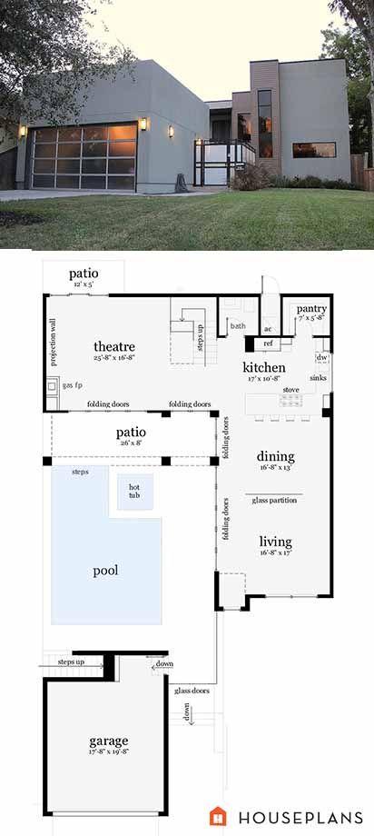 Modern House Plan 64-190. houseplans.com #ModernHousePlan #Houseplans #Floorplans #Architecture