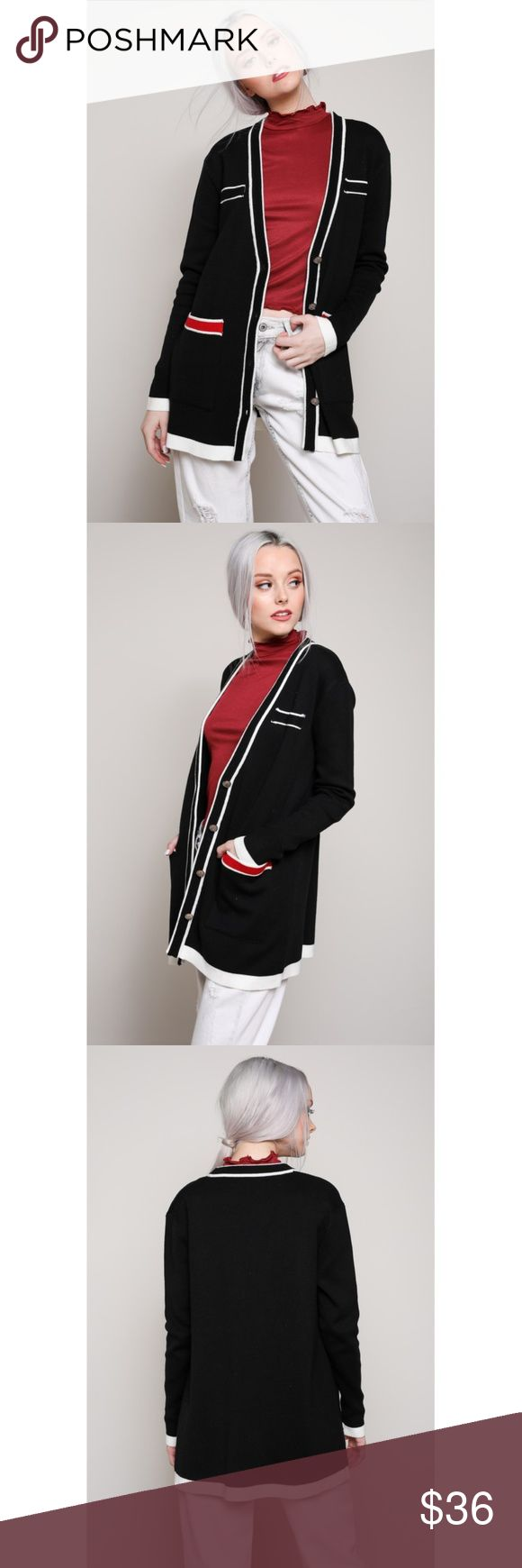 Black Preppy Style Cardigan Preppy styleon trend thick knit cardigan with contrast pattern and gold buttons. Cardigan has two pockets and 4 buttons.   chic work wear, dinner date, evening out,warm weather,layering sweater trendy Available in Black or cream.  Sizes S/M/L Key Chic Sweaters Cardigans