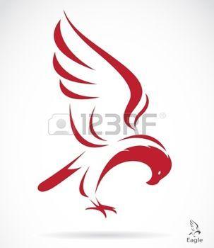tatouage plume: Vecteur d'image d'un aigle sur fond blanc