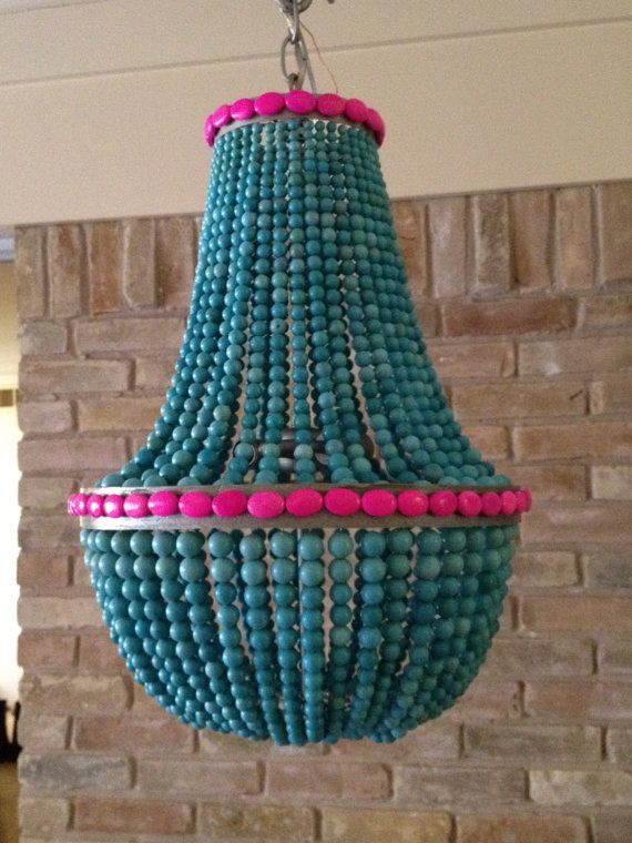 items similar to turquoise hot pink beaded empire style chandelier on etsy - Turquoise Chandelier Light
