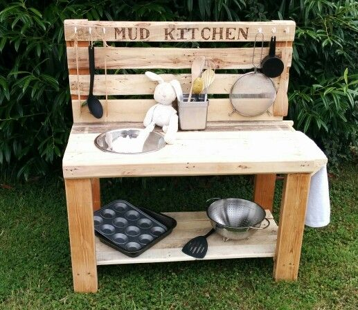 Mud Kitchen Made From Pallet Wood Mudkitchen Upcycling Kids Learning