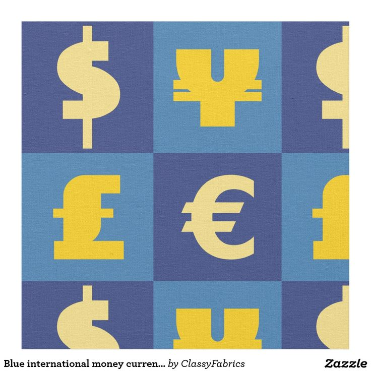 Blue international money currencies signs pattern fabric