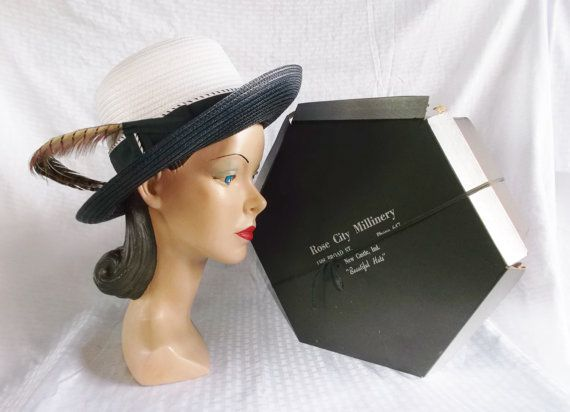 1960's Vintage Blue and White Hat with Pheasant Feathers in Original Box by MyVintageHatShop on Etsy, $45.00