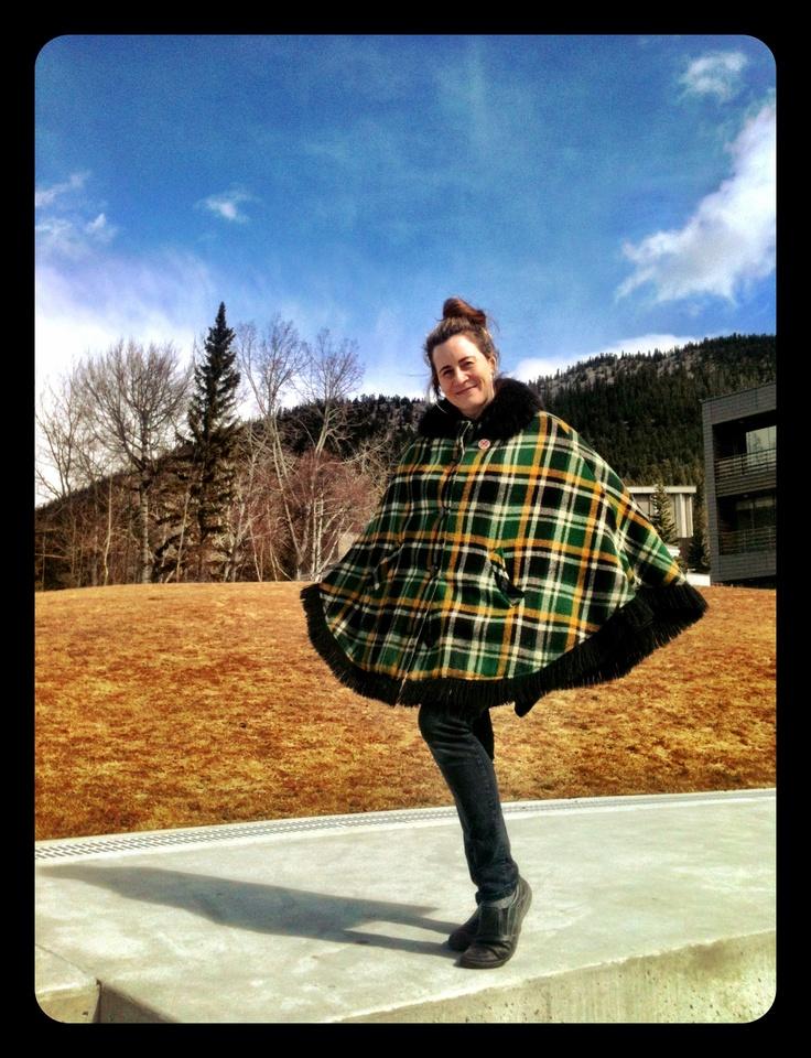 Alexis O'Hara in a bold tartan cape, at The Banff Centre. Interdisciplinary Poet, sound artist and installation artist.