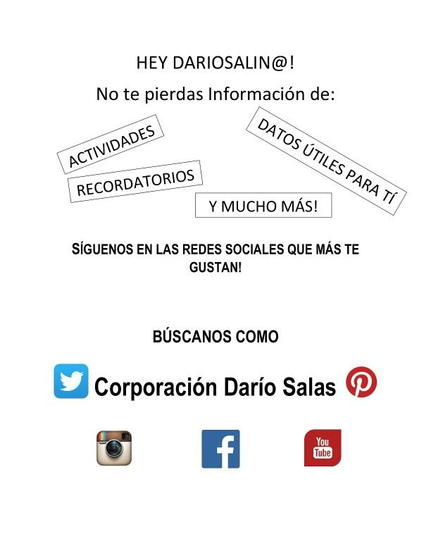 Síguenos y comparte con nosotros! Todos somos Comunidad Dariosalina!