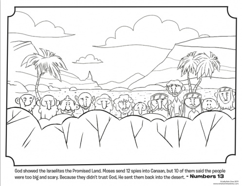 Kids Coloring Page From Whats In The Bible Featuring 12 Spies Canaan