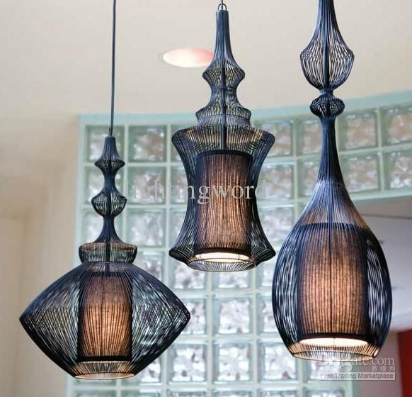 Wholesale Pendant Light - Buy Hot Selling North Europe Modern Minimalist Creative Elite Spa Lamp Aristocrat Fabric Pendant Light Chandelier Bar Lamp, $157.09   DHgate