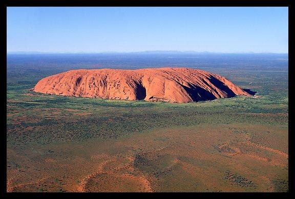 Aerial view of Ayers Rock. Uluru-Kata Tjuta National Park, Northern Territories, Australia.