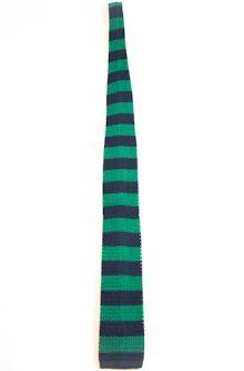 Square knit silk tie striped
