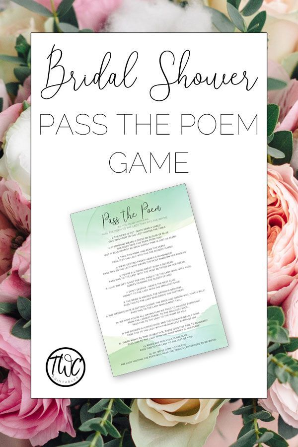 pass the poem bridal shower game in green watercolor design