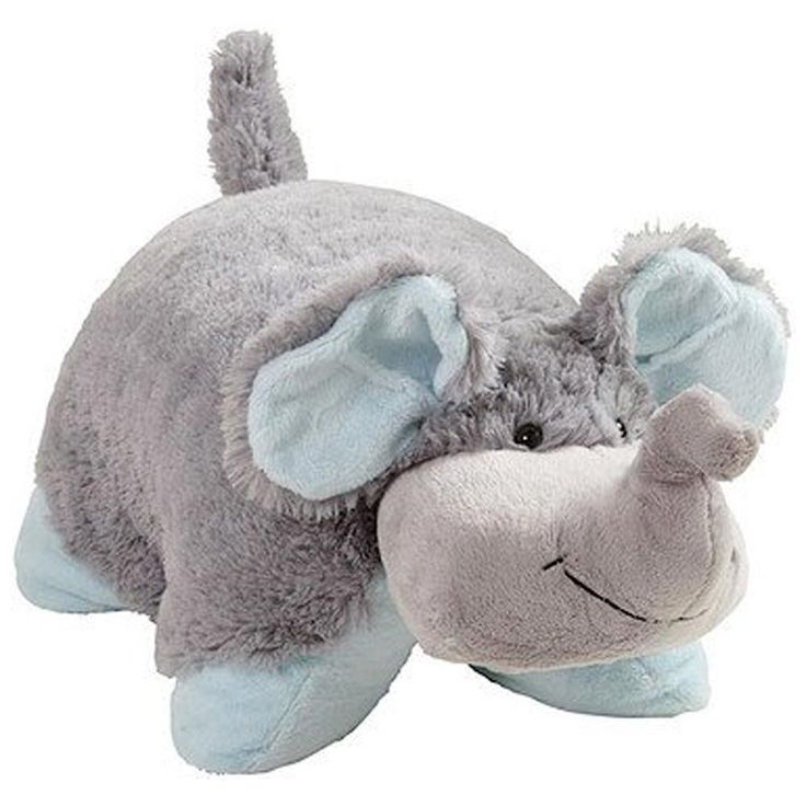 NUTTY ELEPHANT Pillow Pets Pee Wees Plush Stuffed Animal Gray Blue Toy Grey BNWT #AsSeenOnTV