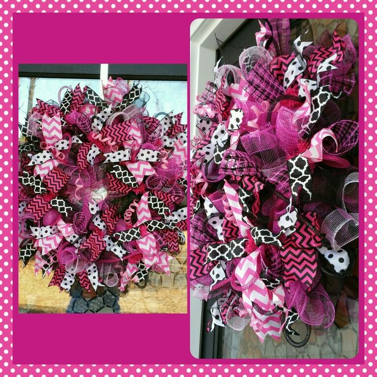 Pink & Black deco mesh wreath for sale by Sassy Creations! DM or email me at Sassy_Creations@outlook.com for invoicing & price.  #decomesh #decomeshforsale #decomeshwreathforsale #decomeshwreaths #decopolymesh #diywreath #diy #diyforsale #handmade #handmadeforsale #ribbonwreath #ribbons #blackdecomesh #pinkdecomesh #pinkandblack #pinkandblackdecomesh #plaid #plaiddecomesh #polkadot #blackandwhitepolkadot #blackandwhitequatrafoil #pinkandwhitechevron #pinkandblackchevron #chevron #quatrafoil…