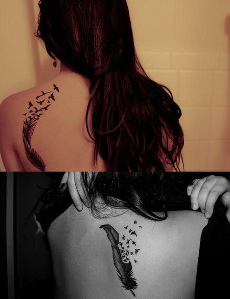 tatouage plume oiseau