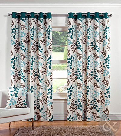 Just Contempo Leaf Printed Eyelet Lined Curtains, Blue, 46x90 inches