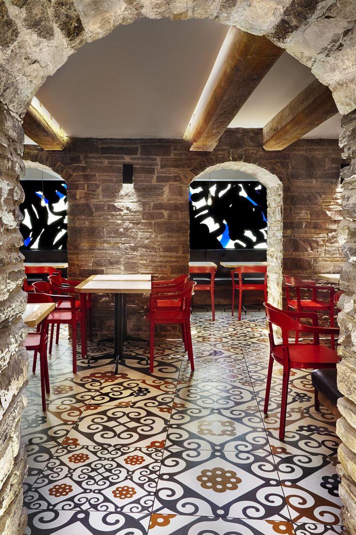 Gaudí inspired ceramic floor tiles for Canadian tapas restaurant