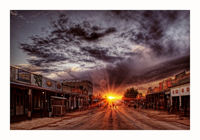 Sunset in Tombstone, Arizona. We'll go see a western shoot out. #I will be brave...