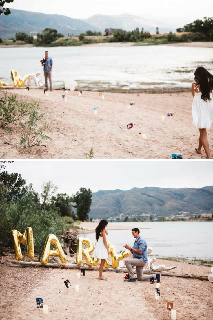 She found him at the edge of the lake, waiting to propose in the sweetest way!