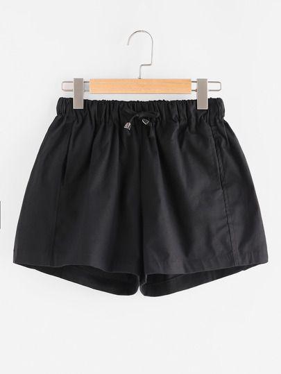 Elastic Drawstring Waist Hidden Pocket Shorts
