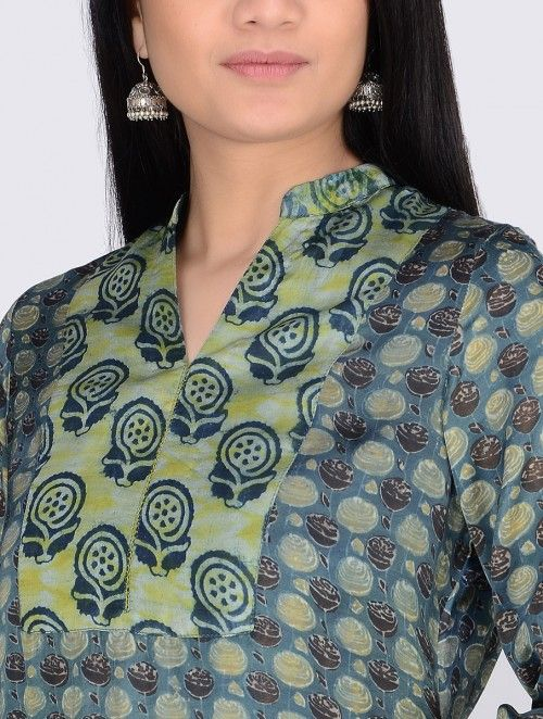 Yellow-Blue Block-Printed & Shibori Satin Modal Kurta