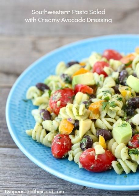Southwestern pasta salad with creamy avocado dressing from Two Peas and Their Pod