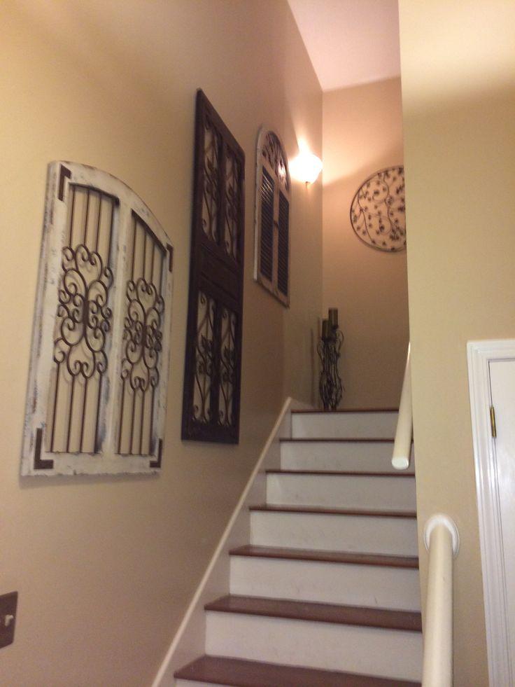 Vintage Rustic Window And Door Frames As Stair Wall Decor Staircase Decor Rustic Windows And
