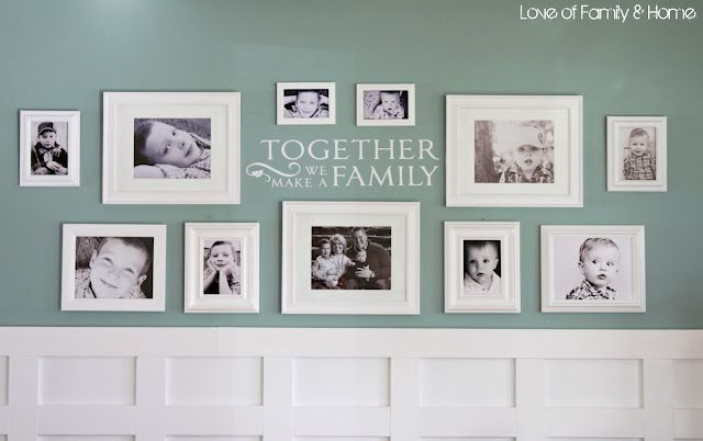 """LOVE!!! this family photo gallery wall by @Tonya Seemann Seemann Seemann @ Love of Family & Home! """"Board/Batten Gallery Wall in the Living Room"""""""