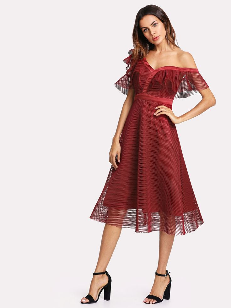 Shop Asymmetric Shoulder Eyelet Mesh Overlay Dress online. SheIn offers Asymmetric Shoulder Eyelet Mesh Overlay Dress & more to fit your fashionable needs.