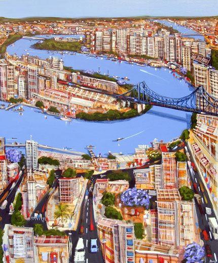 We love this fantastic artwork of Brisbane's iconic river and Storey Bridge by Brisbane based artist, Adam Bogusz.